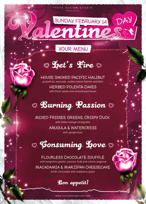 Постер-меню для вечеринки в честь Дня Святого Валентина