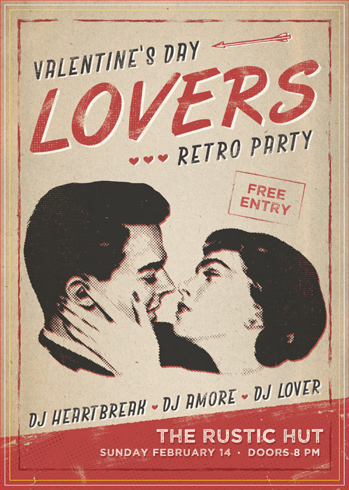 Постер ко Дню Святого Валентина в стиле ретро