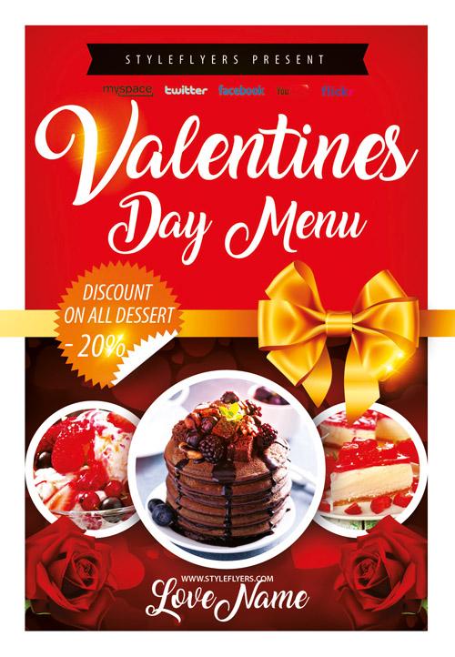 Меню кафе, ресторана на День Святого Валентина