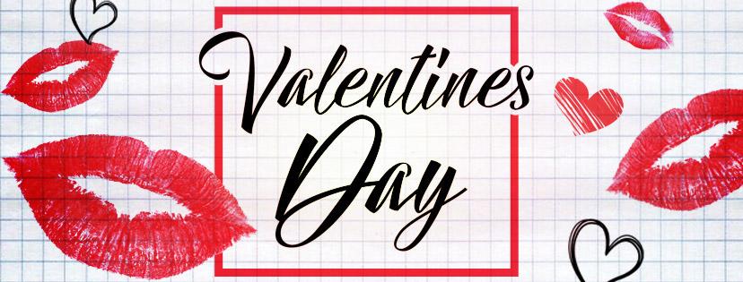 Открытка на День Святого Валентина с отпечатками губ