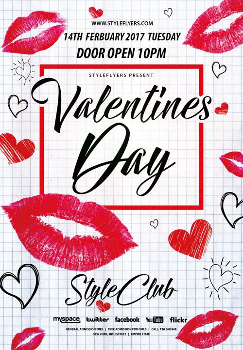 Постер на День Святого Валентина в клетку с отпечатками губ