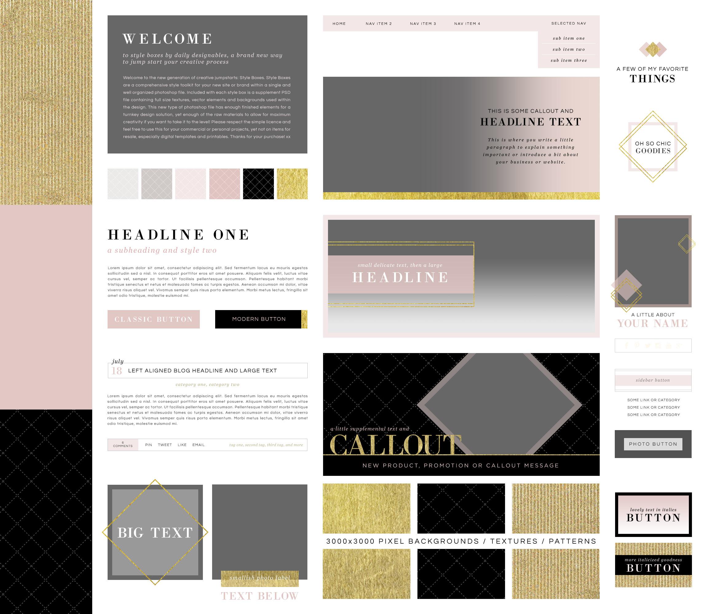 Макет страницы с розовыми, золотыми и черными элементами