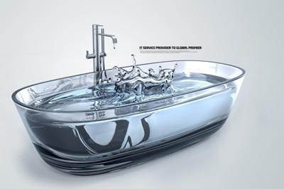Прозрачная ванна с водой