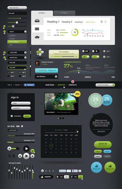 Набор веб-элементов для сайта