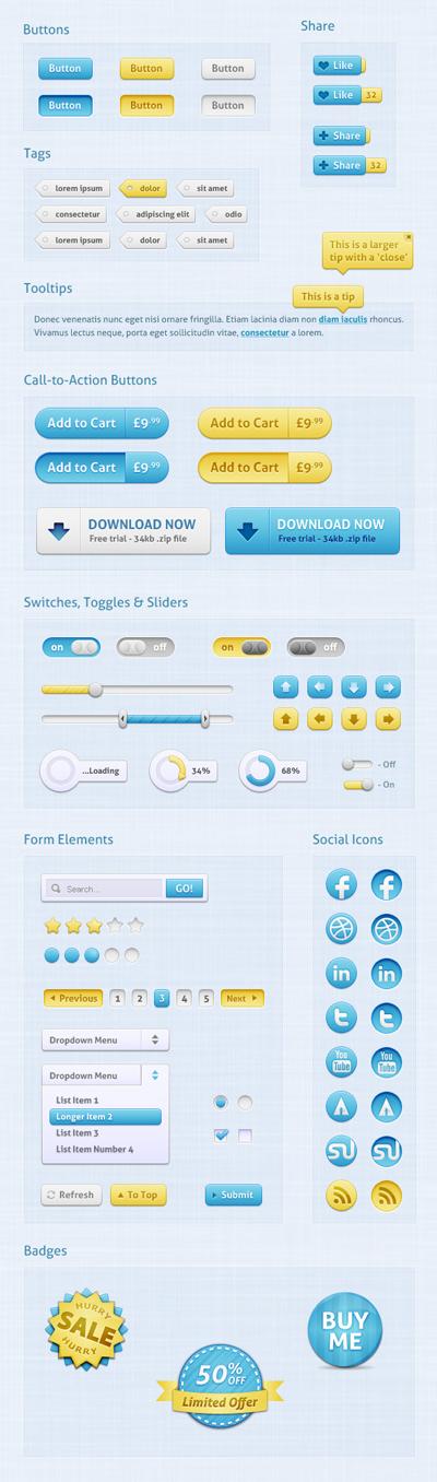 Набор голубых веб-элементов для сайта