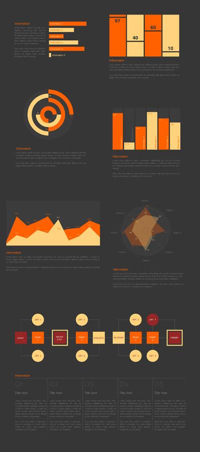 Инфорграфика в бежевых и оранжевых цветах