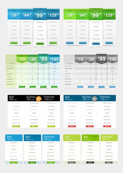 Таблицы с тарифами