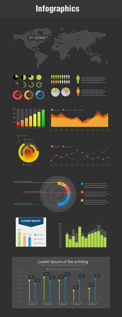 Набор инфографики в стиле Flat