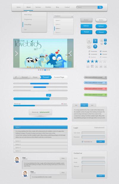 набор серо-голубых веб-элементов
