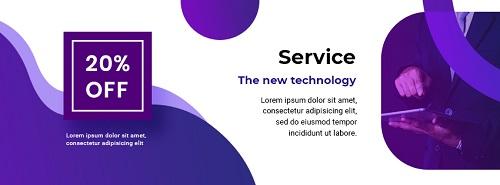 Баннер для скидки на услуги в сфере it или hi-tech