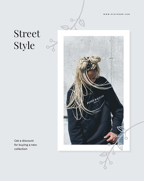 Шаблон баннера рекламы одежды в уличном стиле
