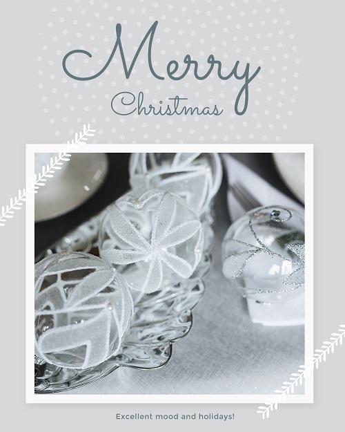 Счастливого рождества - открытка с прозрачными шарами
