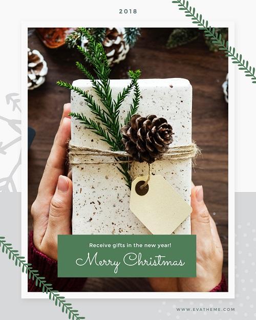 Легкая новогодняя открытка с пожеланиями Счастливого рождества