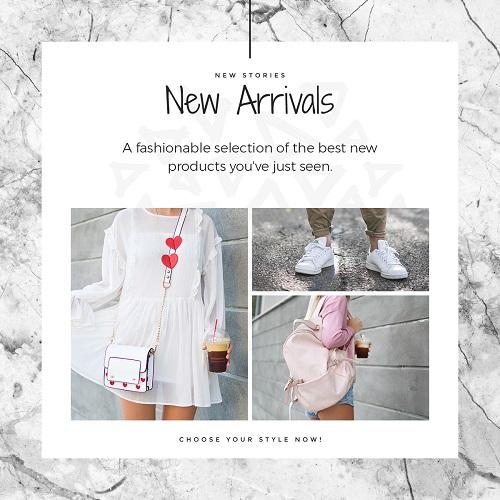 Баннер для нового прибытия модной одежды и аксессуаров