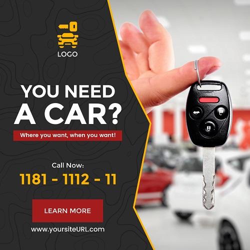 Большой баннер для рекламы аренды автомобиля