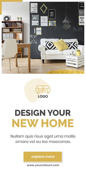 Шаблон рекламы дизайна интерьера