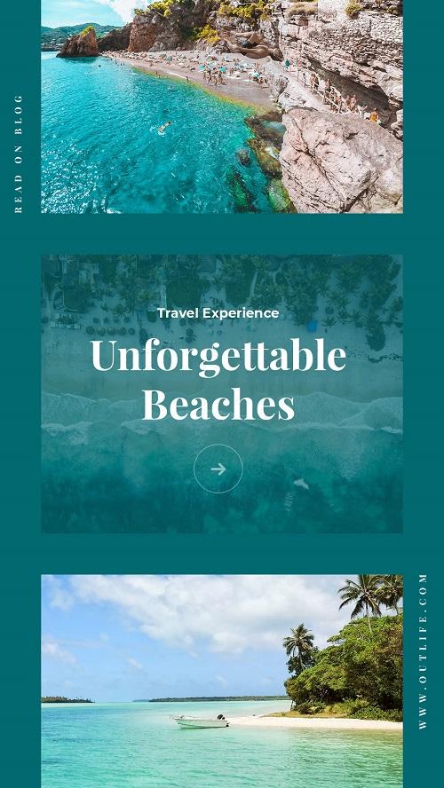 Туристический баннер с фото моря и пляжей