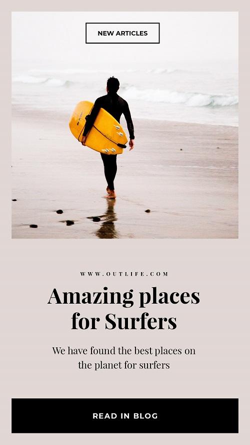 Рекламный баннер о море и серфинге