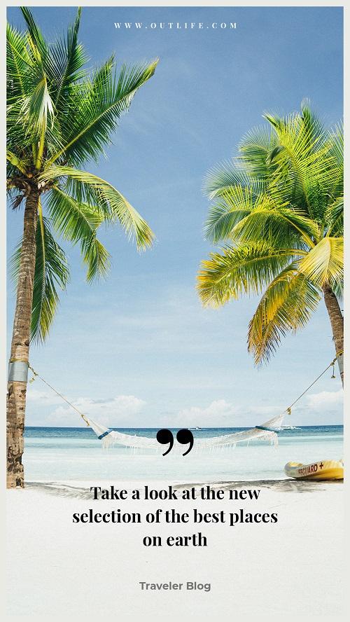 Солнечный туристический баннер с пальмами