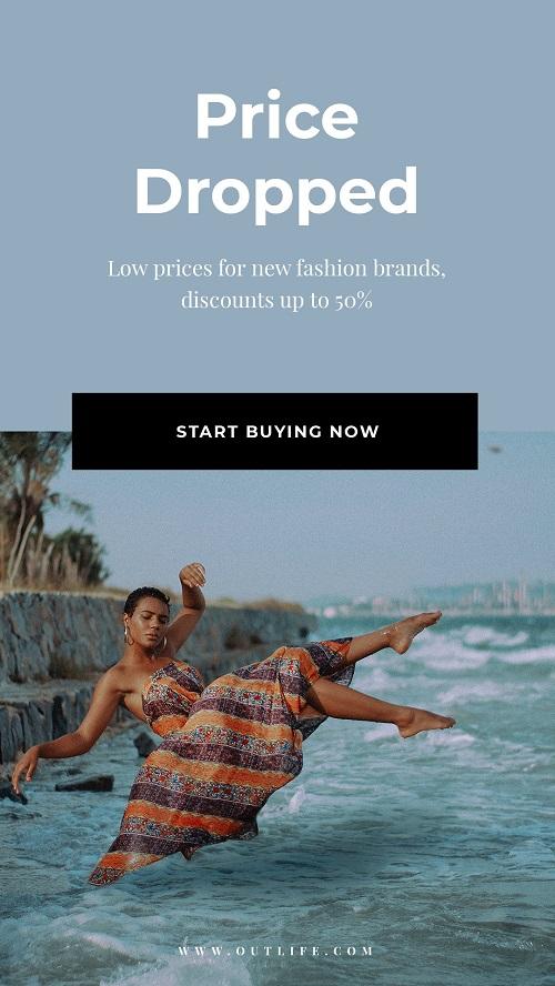 Рекламный шаблон для новой коллекции одежды на фоне моря
