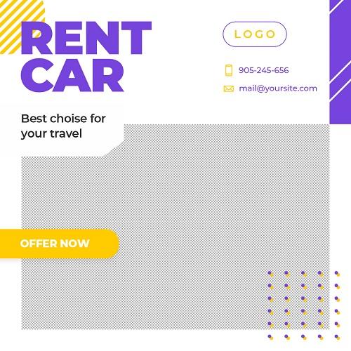 Светлый макет для рекламы аренды автомобилей