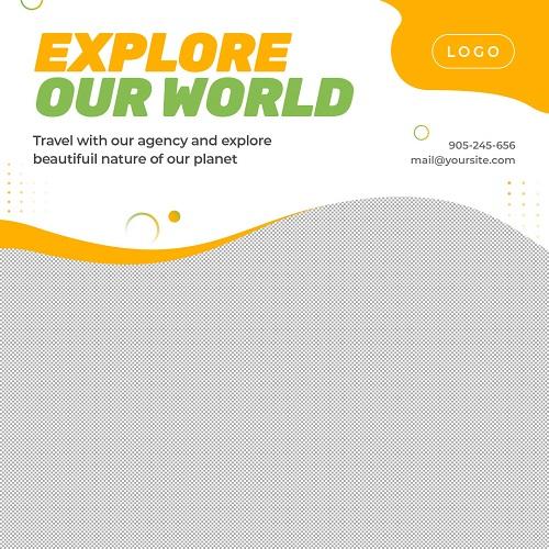 Исследуй мир - шаблон для рекламы туристических услуг