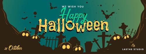 Флаер на halloween с кладбищем