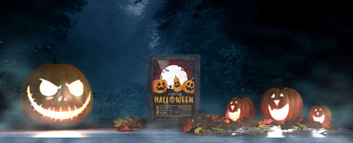 Шаблон на halloween со светящимися тыквами