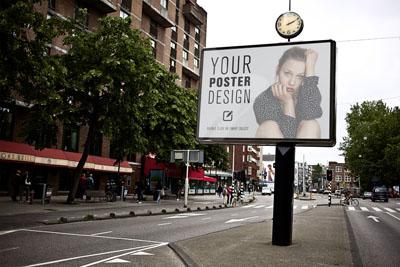 Mockup билборда на фоне города