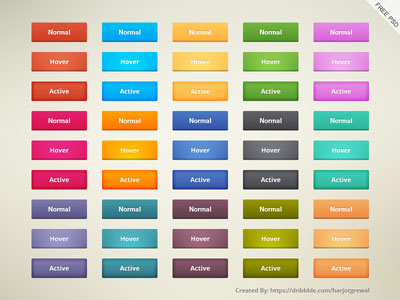 Исходник кнопок различных цветов