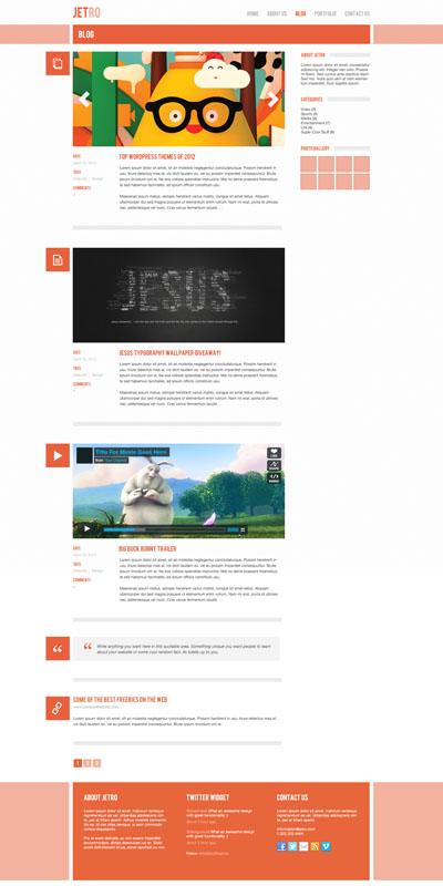 Макет блога оранжевого цвета