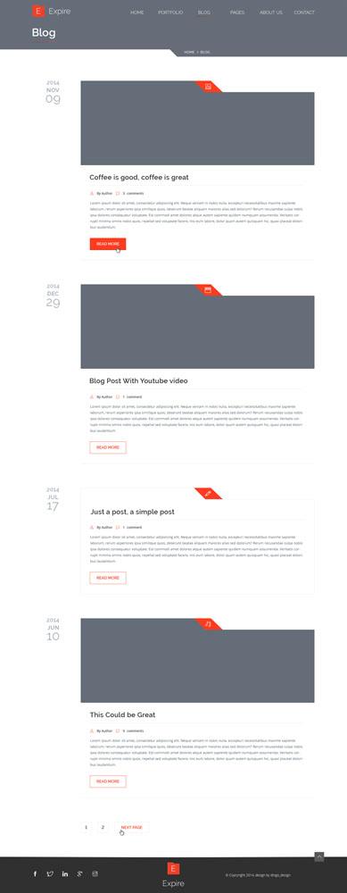Макет блога серо-белого цвета