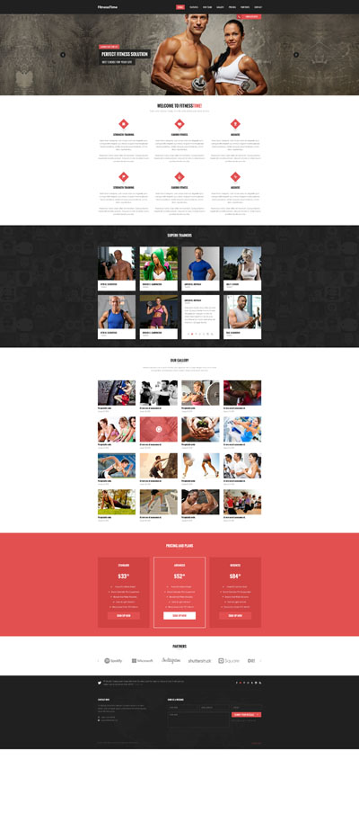 Макет сайта фитнес-студии или спортивного сайта