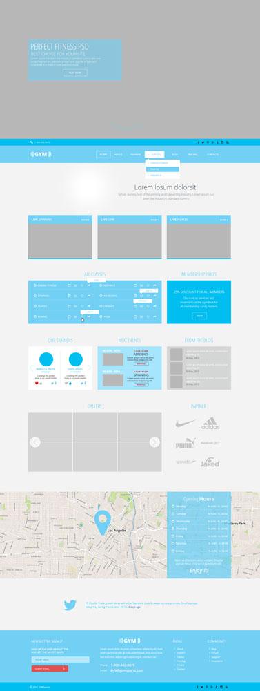 Макет сайта голубого цвета
