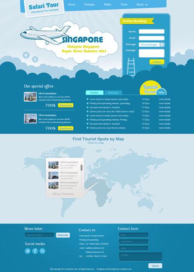 Макет туристического сайта синего цвета