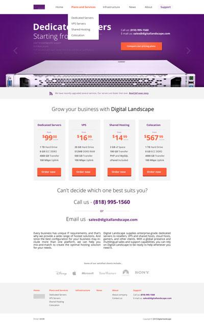 Макет сайта по продаже выделенных серверов или других интернет-услуг