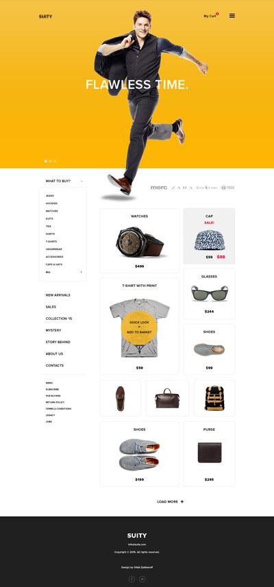 Макет легкого сайта интернет-магазина желтого цвета