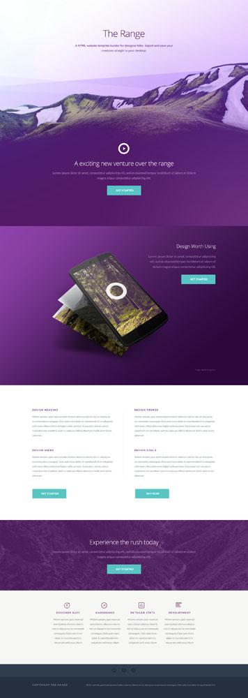 Макет фиолетового сайта для приложения