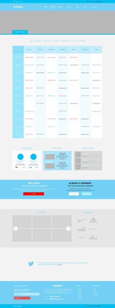 Макет страницы расписания тренировок