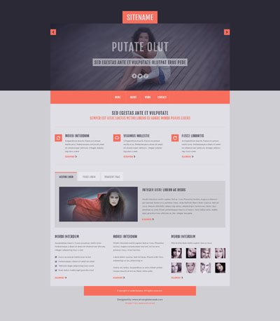 Макет сайта компании оранжево-серого цвета
