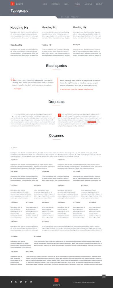 Макет с набором шаблонов типографического оформления текстов сайта