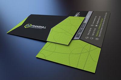 Современная серо-зеленая визитка