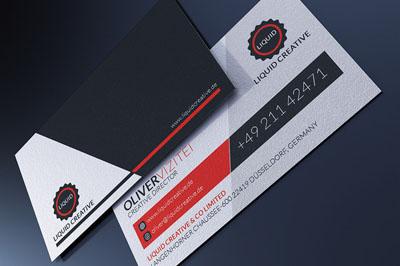 Классическая бизнес-визитка серо-красного цвета