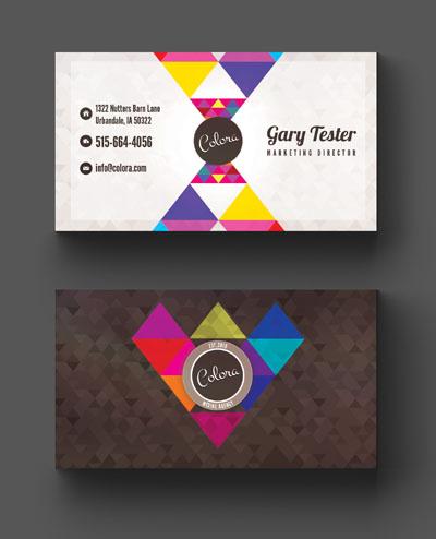 Яркая визитка с мозаикой из треугольников