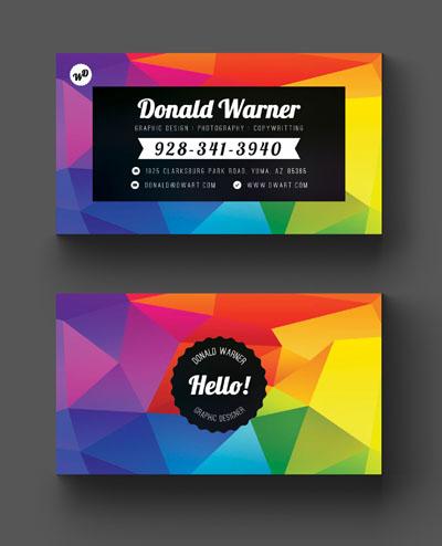 Разноцветная яркая визитка
