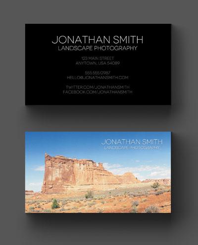 Визитка с пейзажем для фотографа
