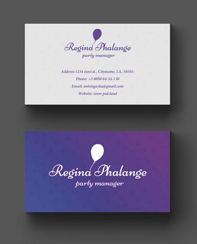 Легкий макет визитки фиолетового цвета