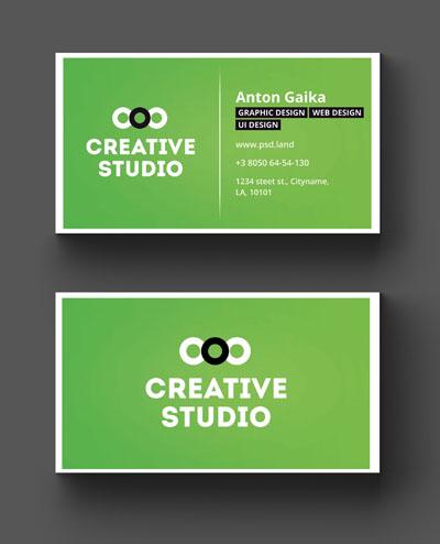 Макет визитки студии зеленого цвета