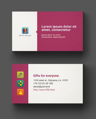 Макет визитки с иконками
