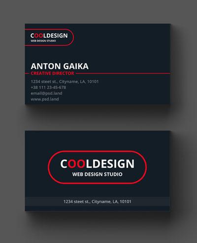 Макет визитки с овальным логотипом